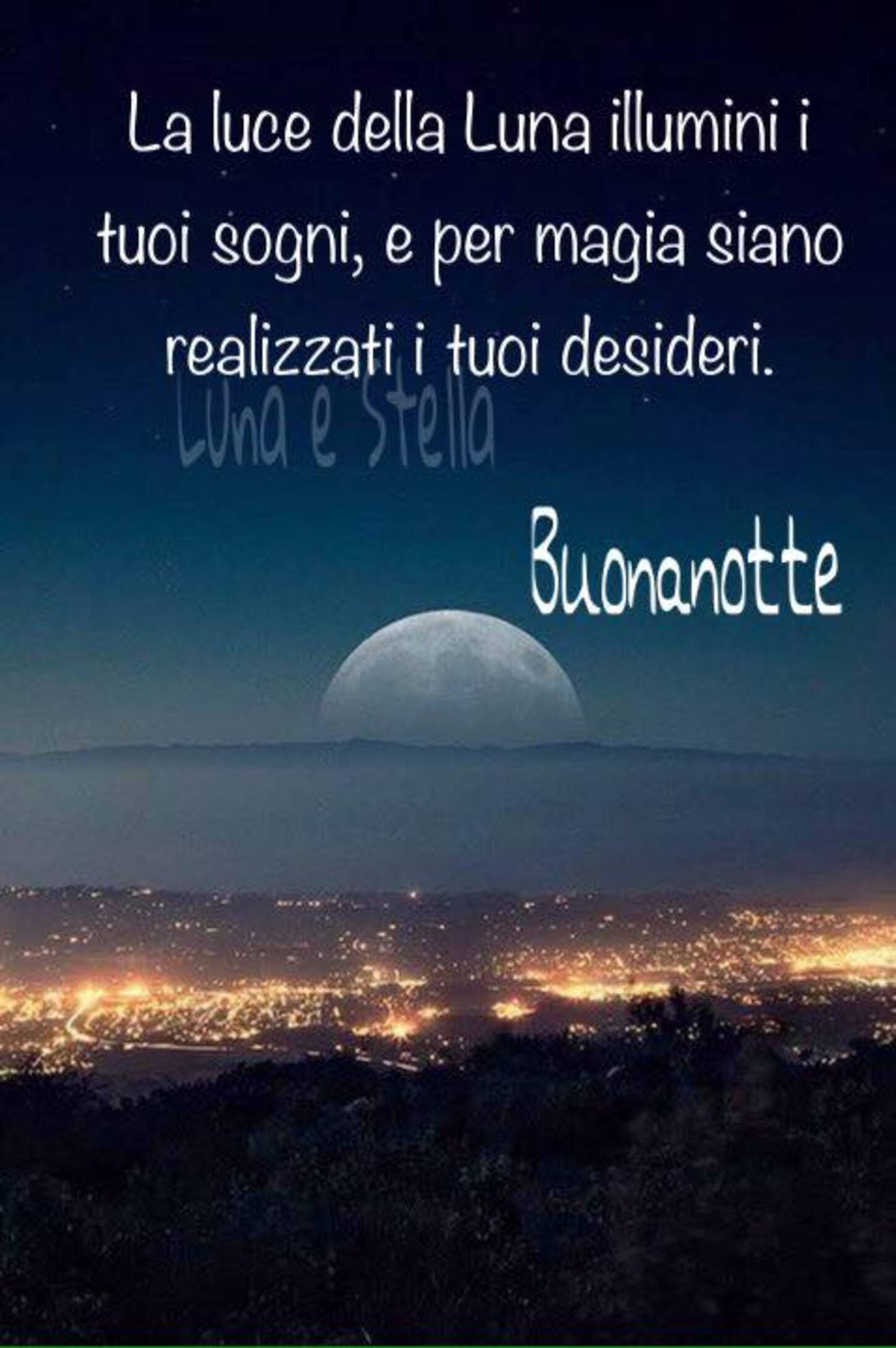La luce della luna illumini i tuoi sogni e per magia siano realizzati i tuoi desideri. Buonanotte