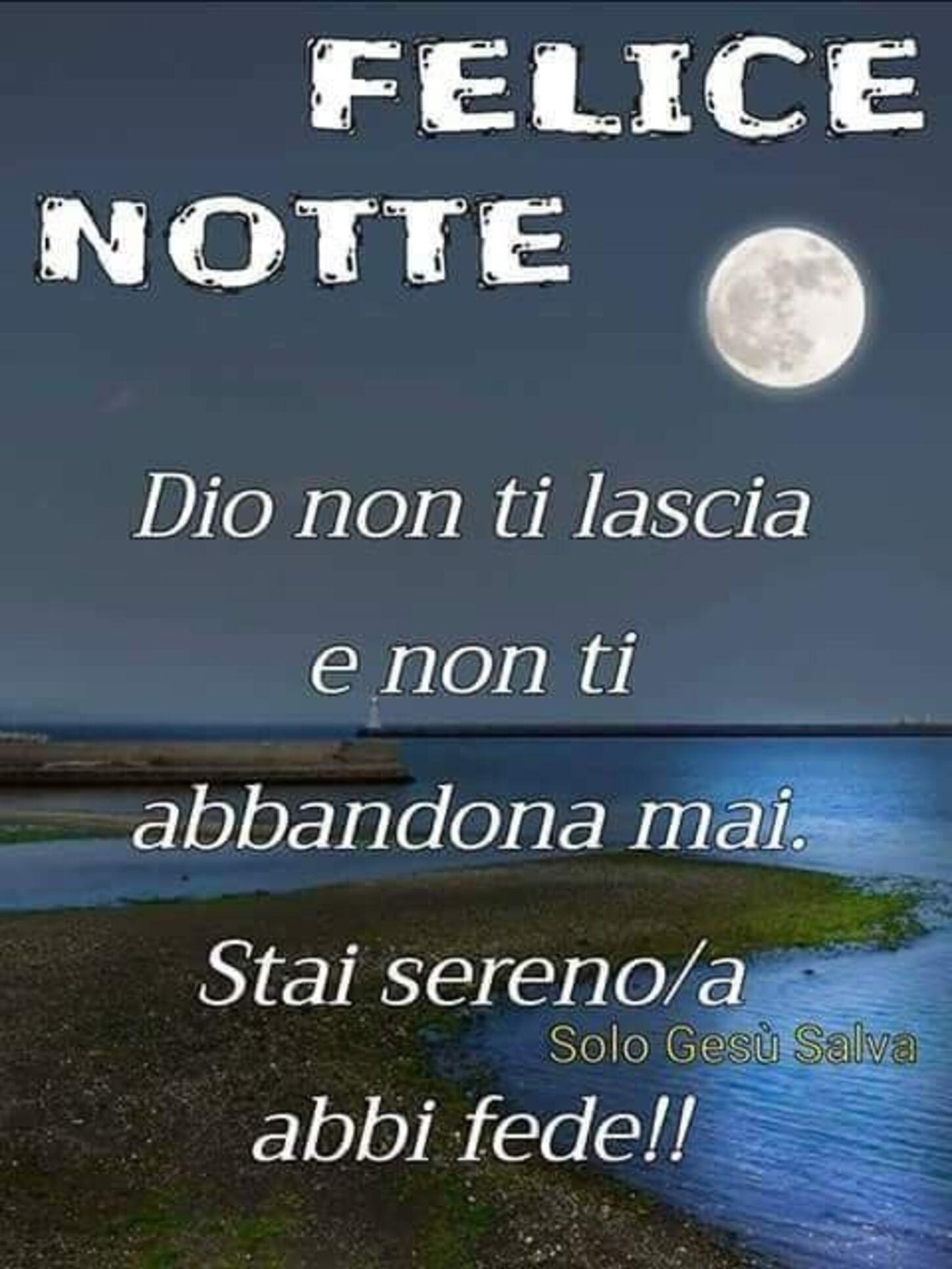 FELICE NOTTE Dio non ti lascia e non ti abbandona mai. Stai sereno/a e abbi fede!!