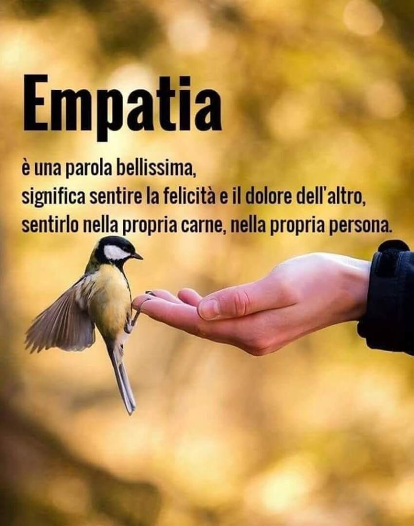 EMPATIA è una parola bellissima, significa sentire la felicità e il dolore dell'altro, sentirlo nella propria carne, nella propria persona