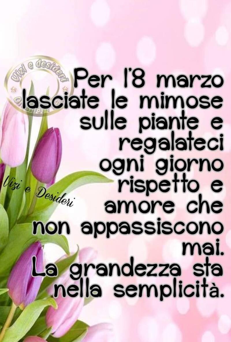 Per l'8 marzo lasciate le mimose sulle piante e regalateci ogni giorno rispetto e amore che non appassiscono mai. La grandezza sia nella semplicità