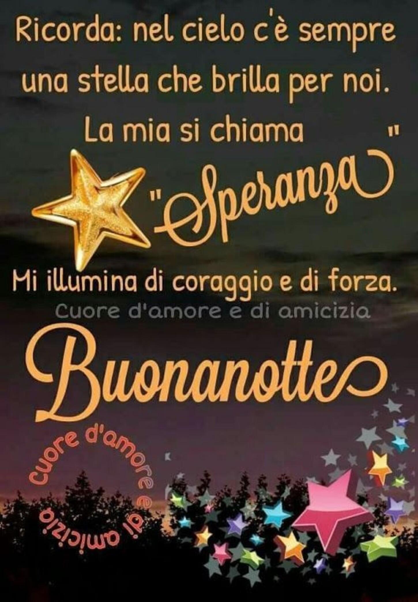 """Ricorda: Nel cielo c'è sempre una stella che brilla per noi. La mia si chiama """"Speranza"""". Mi illumina di Coraggio e di Forza. Buonanotte"""