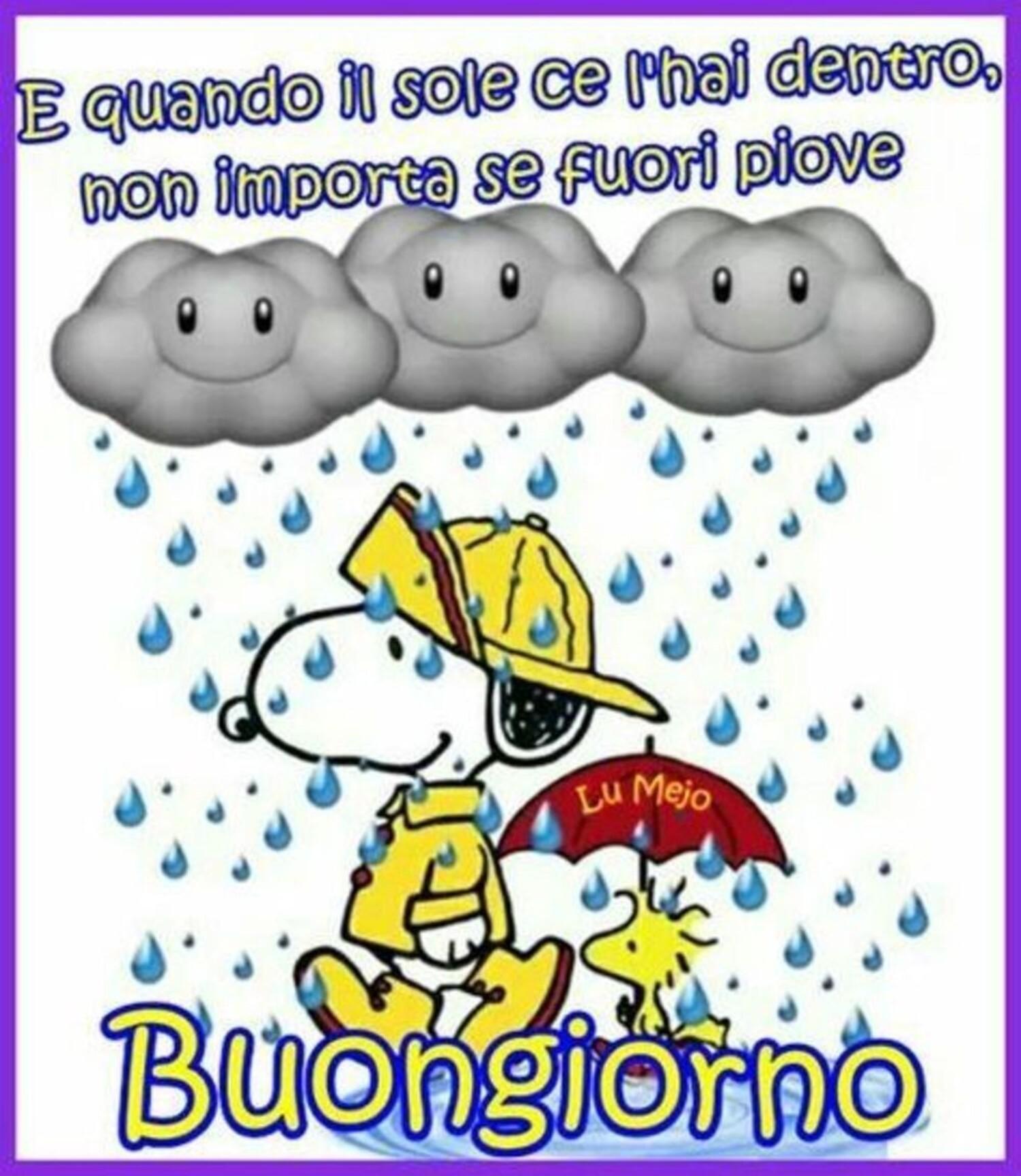 """""""E quando il sole ce l'hai dentro, non importa se fuori piove... Buongiorno"""" - da Snoopy e Woodstock"""