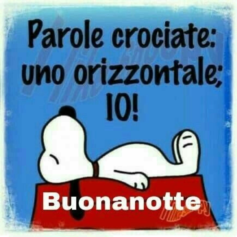 Parole crociate, uno orizzontale: IO! Buonanotte - Snoopy