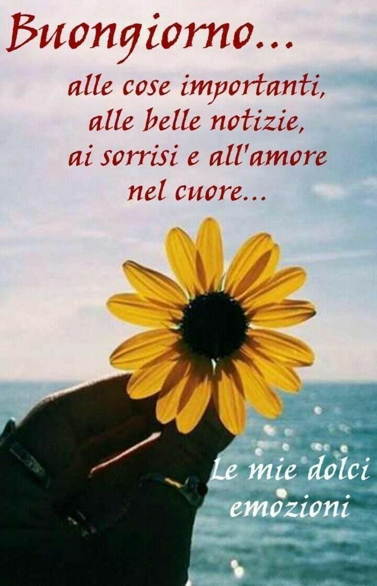 Buongiorno... alle cose importanti, alle belle notizie, ai sorrisi e all'amore nel Cuore...